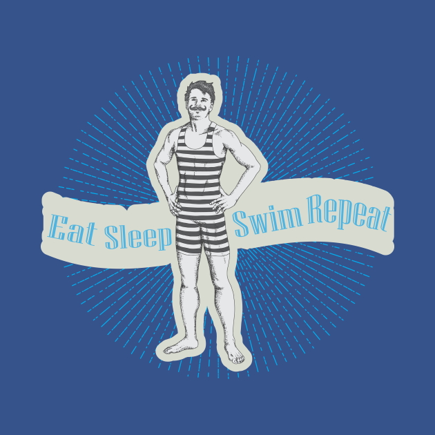 TeePublic: Eat sleep swim repeat funny man swiming