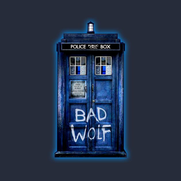 TeePublic: Blue Phone booth with Bad wolf grafitti