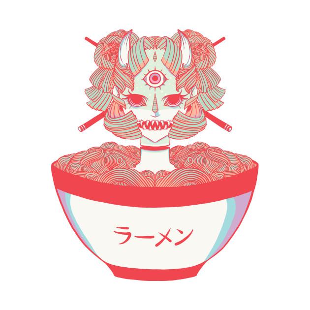 TeePublic: Monster Oni Girl Ramen Noodle Food Anime Art