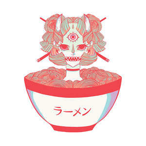 TeePublic: Monster Oni Girl Ramen Noodle Food Anime Art