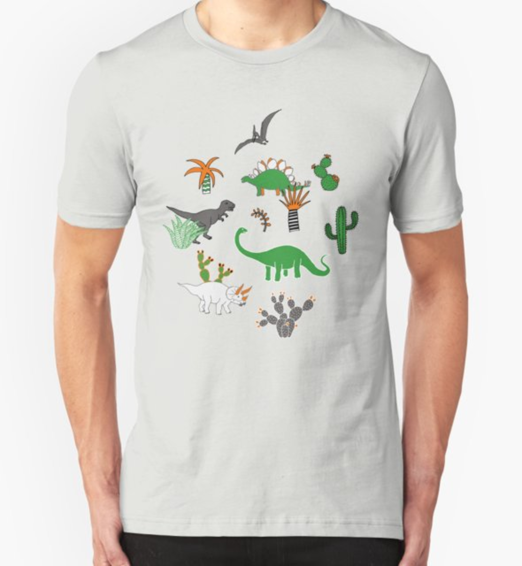 RedBubble: Dinosaur Desert - green and orange on grey - fun pattern by Cecca Designs