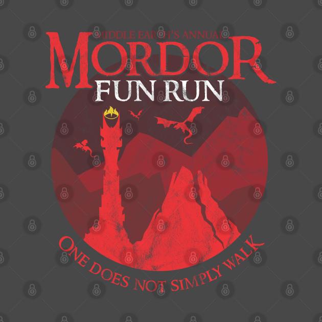 TeePublic: Mordor Fun Run One Does Not Simply Walk Distressed