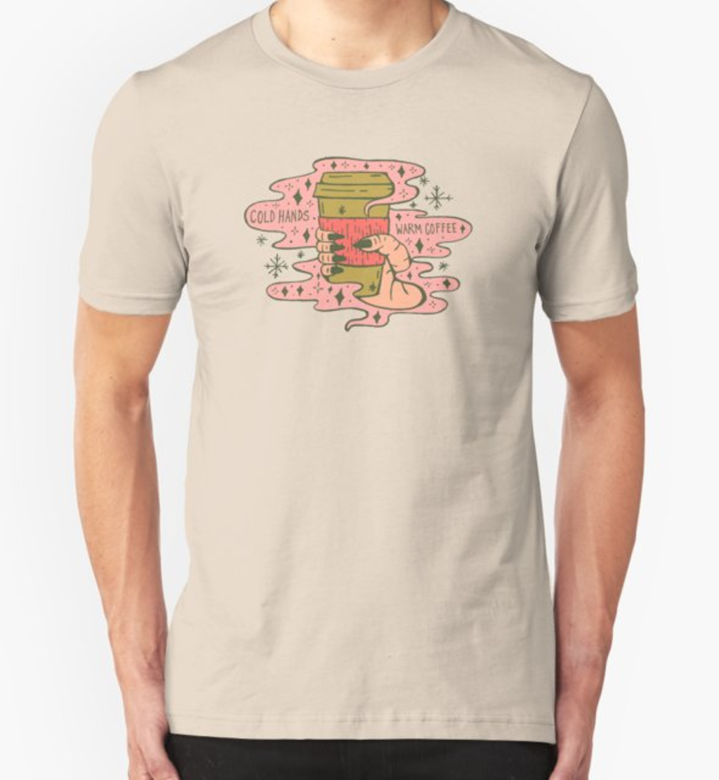 RedBubble: Cold Hands, Warm Coffee in Coral