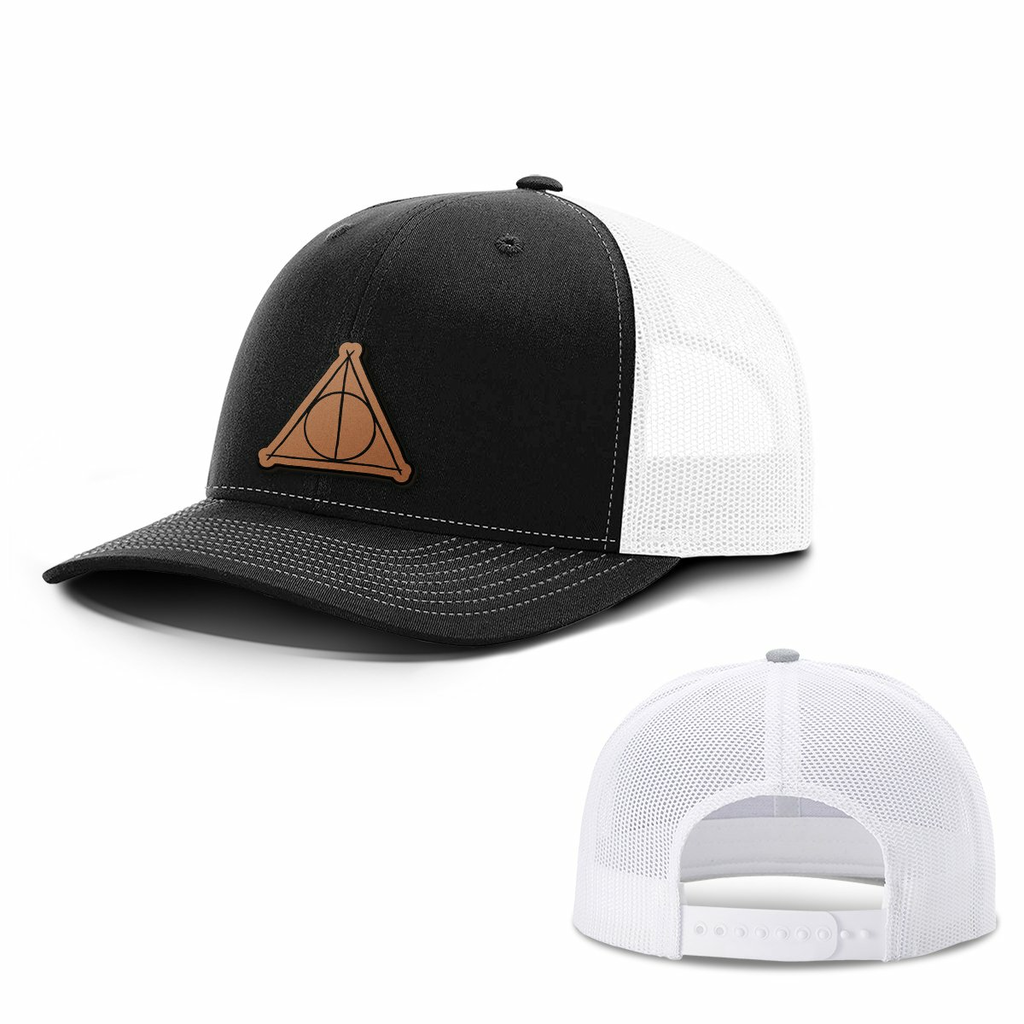BustedTees: Deathly Hallows Leather Patch Hats