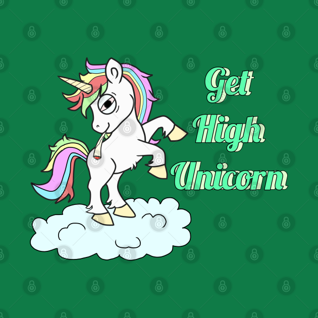 TeePublic: Get High Unicorn Smoking Weed Joint