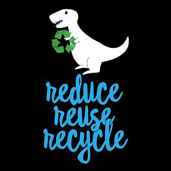 BustedTees: Reduce Reuse Recycle Rex - Cute Earth Day Shirt T-
