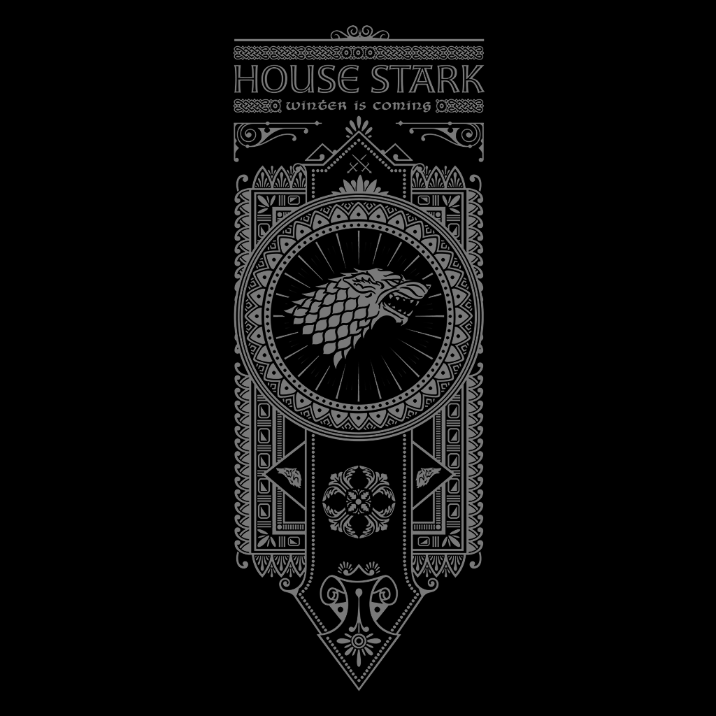 Pop-Up Tee: House Stark - White Ink