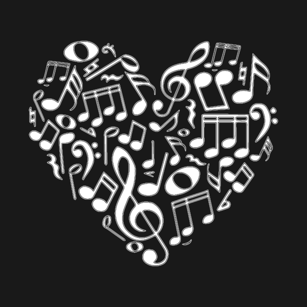 TeePublic: Music Lover Music Note Heart