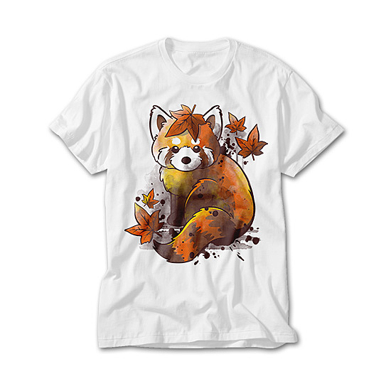 OtherTees: Red panda red leaves