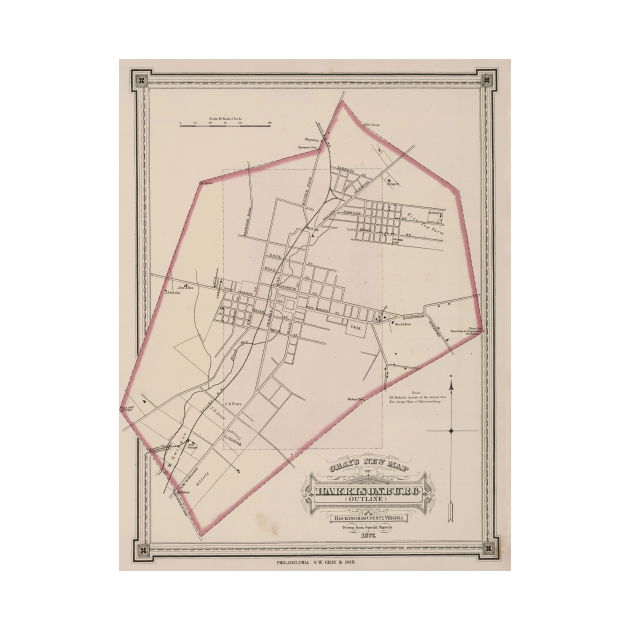 TeePublic: Vintage Map of Harrisonburg VA (1878)