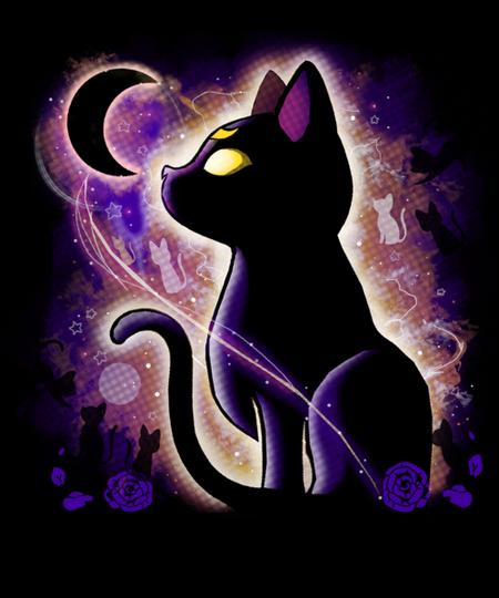 Qwertee: Black Cat Moon
