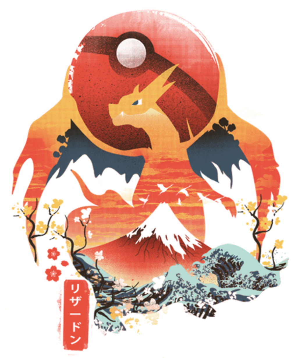 Qwertee: Pokiyo-e Fire Monster