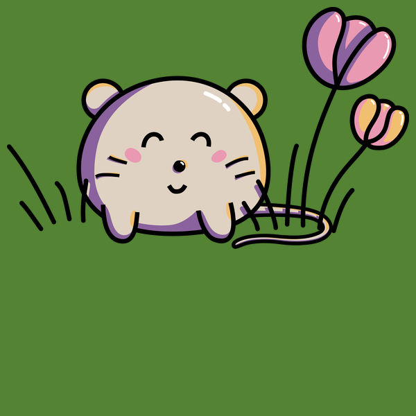 NeatoShop: Cute Kawaii Spring Mouse and Flowers