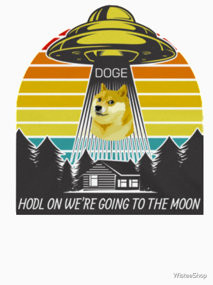 RedBubble: Hold on we're going to the moon, funny dogcoin gift, Crypto Lover, DOGE Cryptocurrency