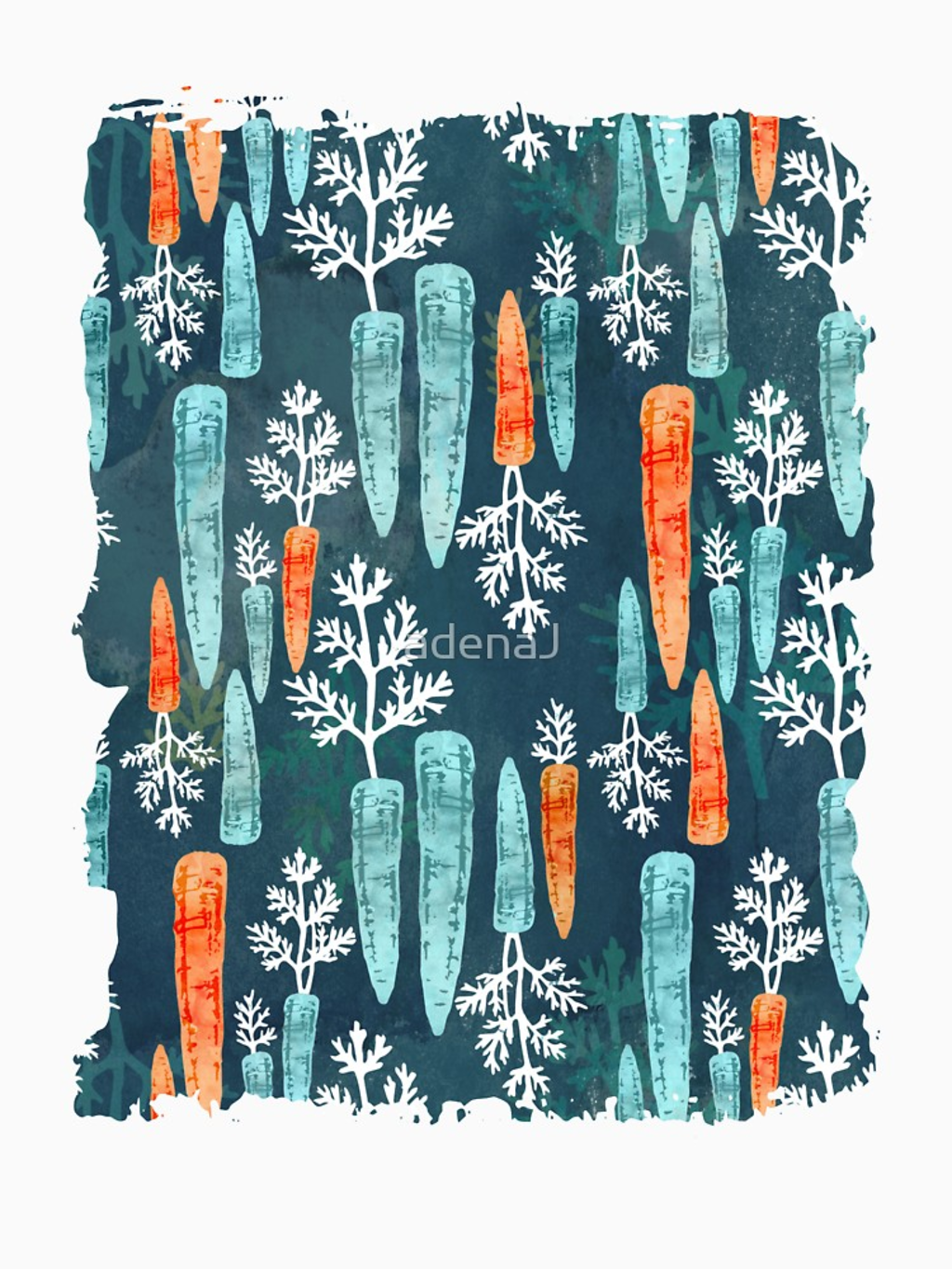 RedBubble: Watercolor carrot repeat