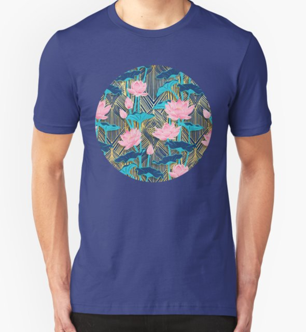 RedBubble: Art Deco Lotus Flowers in Pink & Navy