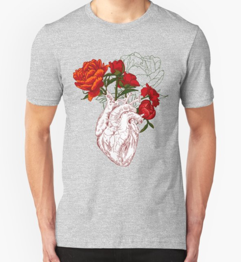 RedBubble: drawing Human heart with flowers