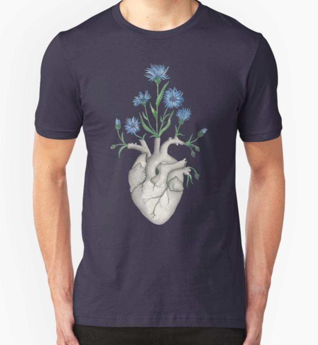 RedBubble: Floral Heart: Human Anatomy Cornflower Valintines Day Gift
