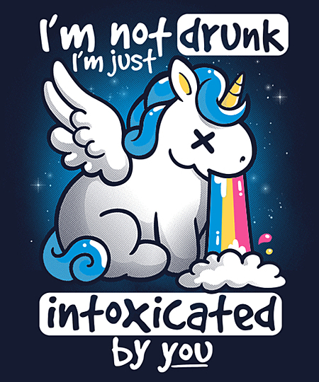 Qwertee: Unicorn not drunk