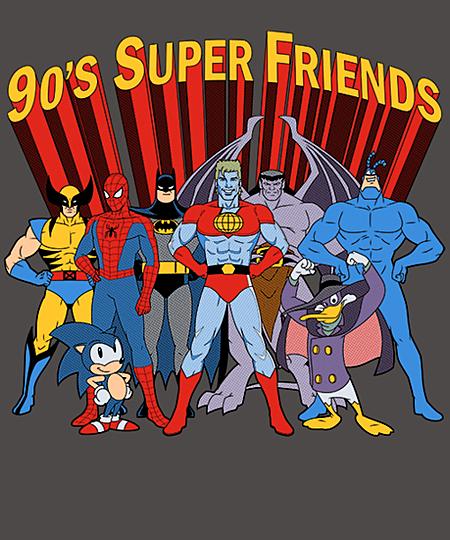 Qwertee: 90's Super Friends
