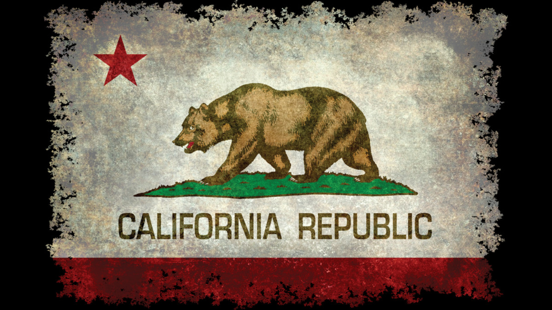Design by Humans: California Republic distressed flag