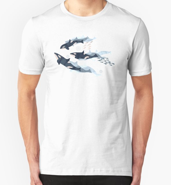 RedBubble: Orca in Motion / blush ocean pattern