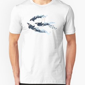 RedBubble: Orca in Motion / blush ocean pattern
