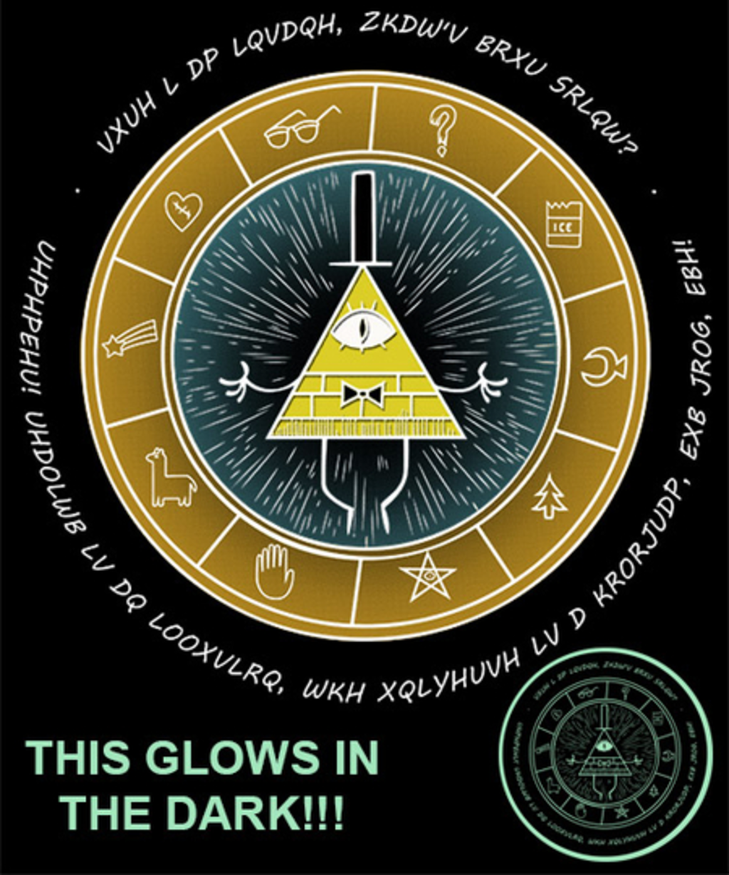 Qwertee: Encrypted Bill - Glow in the dark