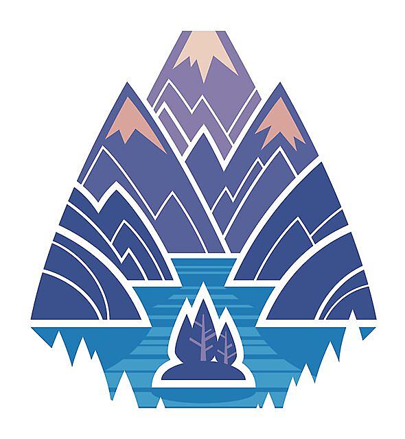 RedBubble: Mountain Lake : Dark Blue