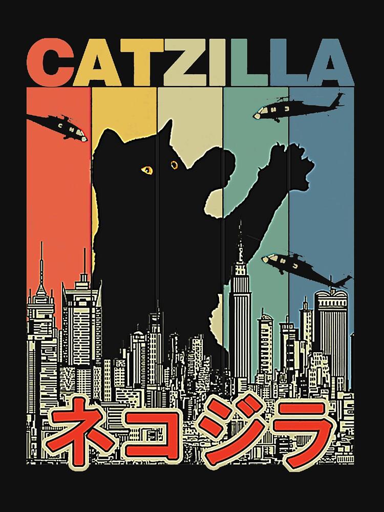 RedBubble: Vintage Catzilla Japanese Sunset Style Cat Kitten Lover T-Shirt