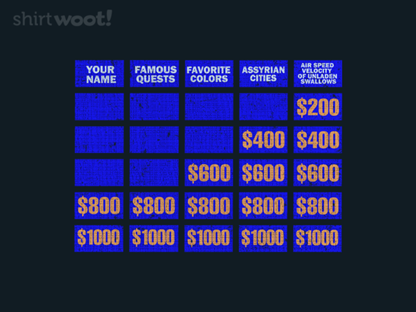 Woot!: Answer Me, These Questions Three - $15.00 + Free shipping