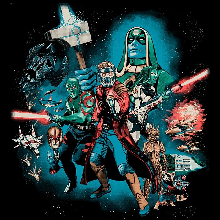 We Heart Geeks: Guardians Far Away - Men's T-Shirt