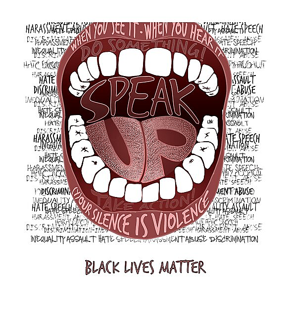 RedBubble: SPEAK UP - SILENCE IS VIOLENCE - BLM
