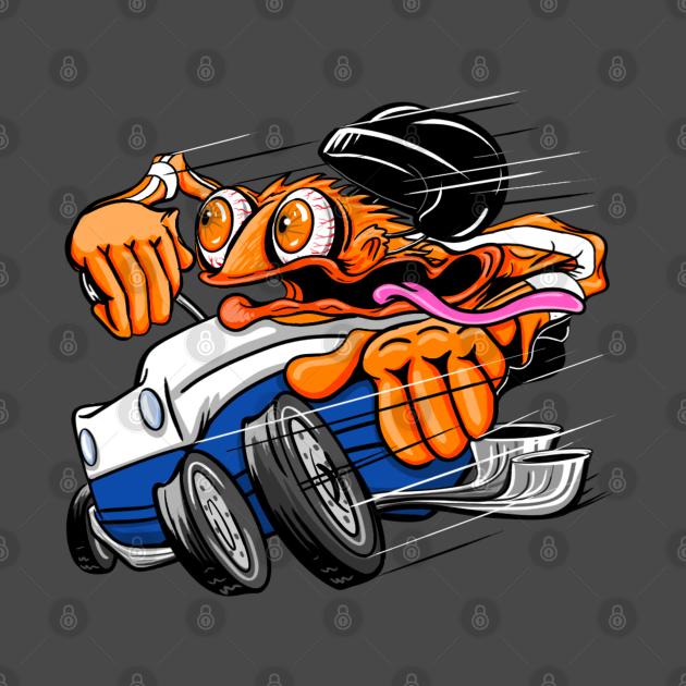 TeePublic: Orange Hot Rod Hockey Monster