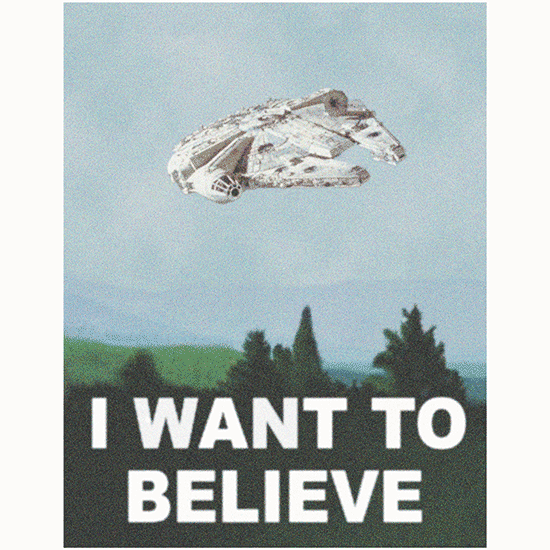 Textual Tees: I Want To Believe Millennium Falcon