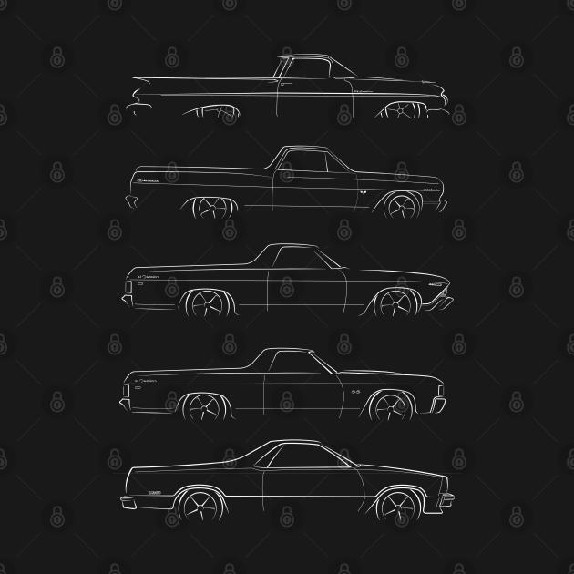 TeePublic: Evolution of the Chevy El Camino - profile stencil, white