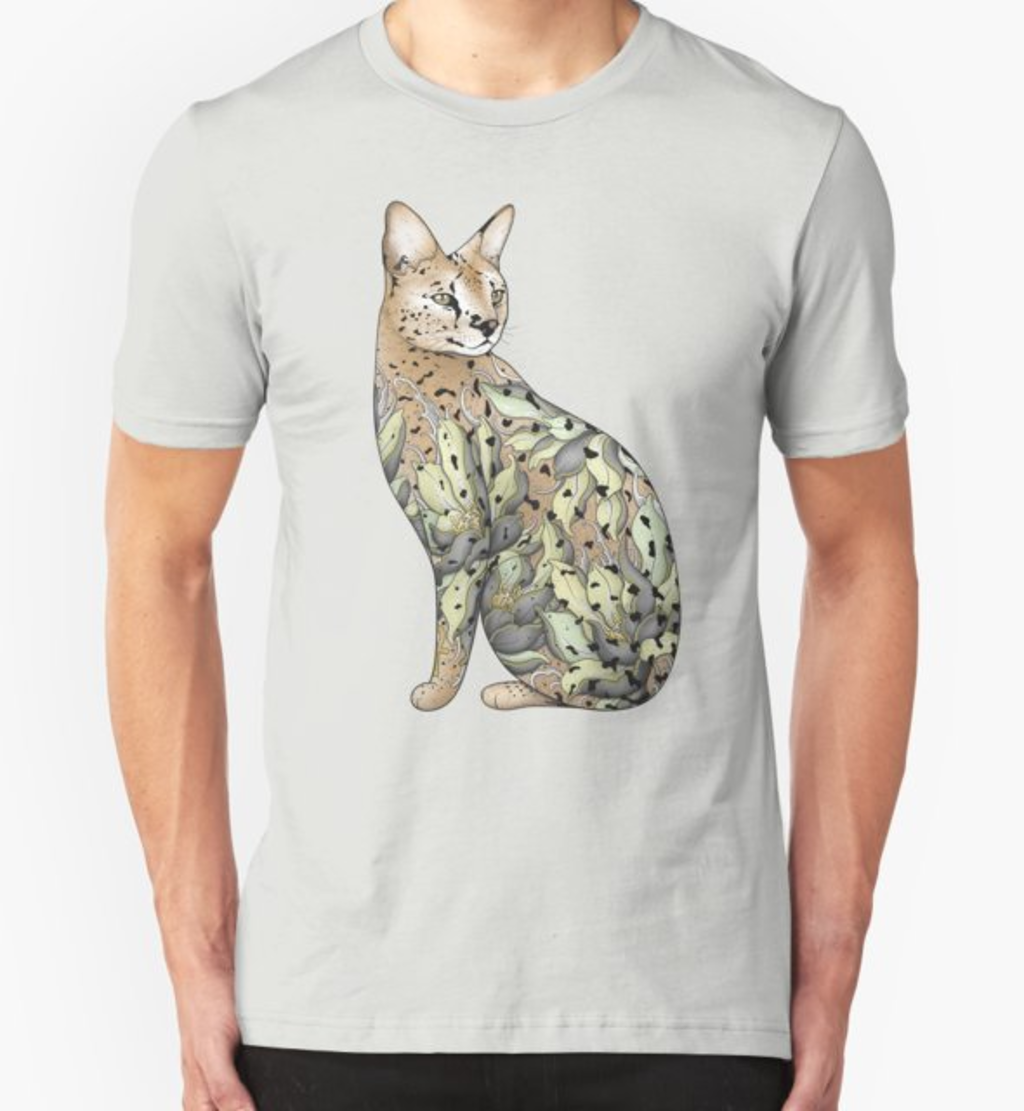 RedBubble: Serval Cat in Lotus Flower Tattoo