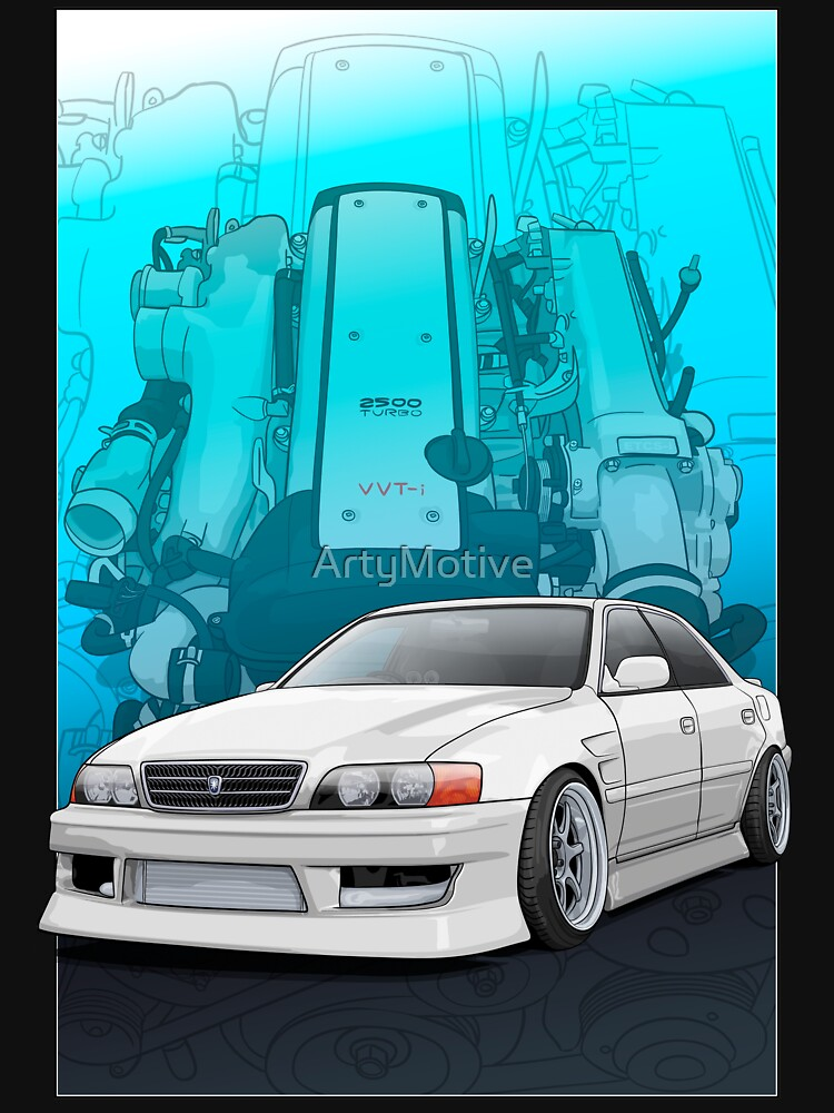 RedBubble: Chaser jzx100 (white) with 1jz engine background,