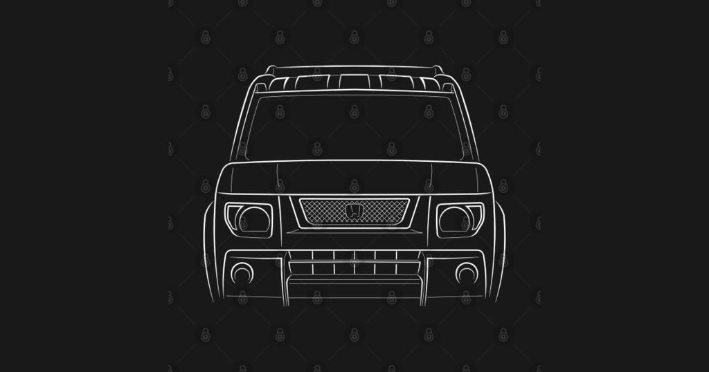 TeePublic: front/profile - Honda Element - stencil, white