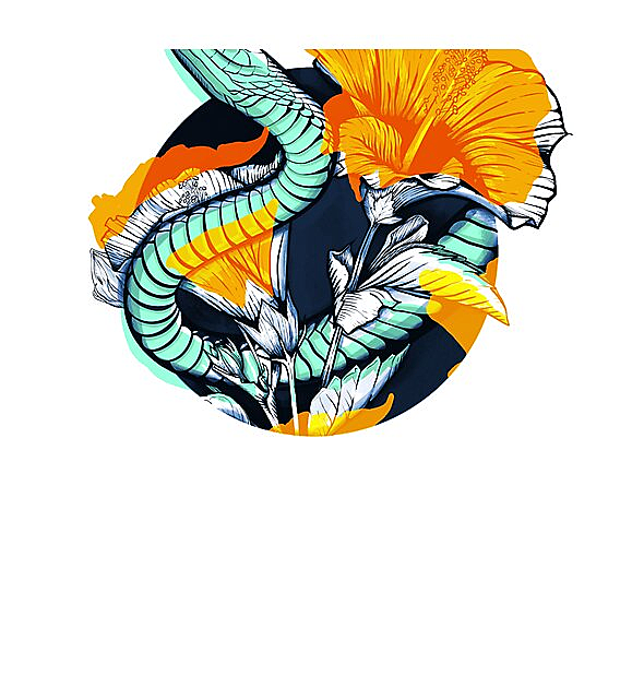 RedBubble: Tropical snake and flowers