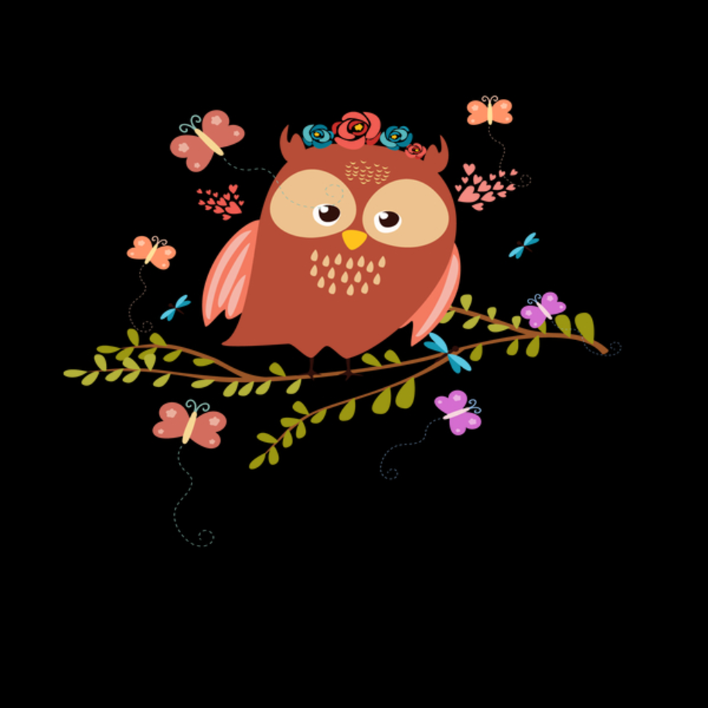 NeatoShop: Spring Owl with Butterflies