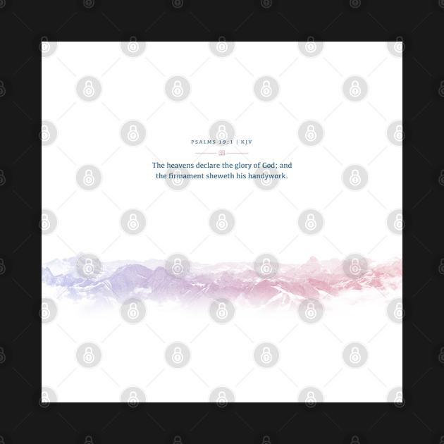 TeePublic: Psalms 19:1, Bible Verse Quote, Aesthetic Purple & Blue, Mountains Scene Gift