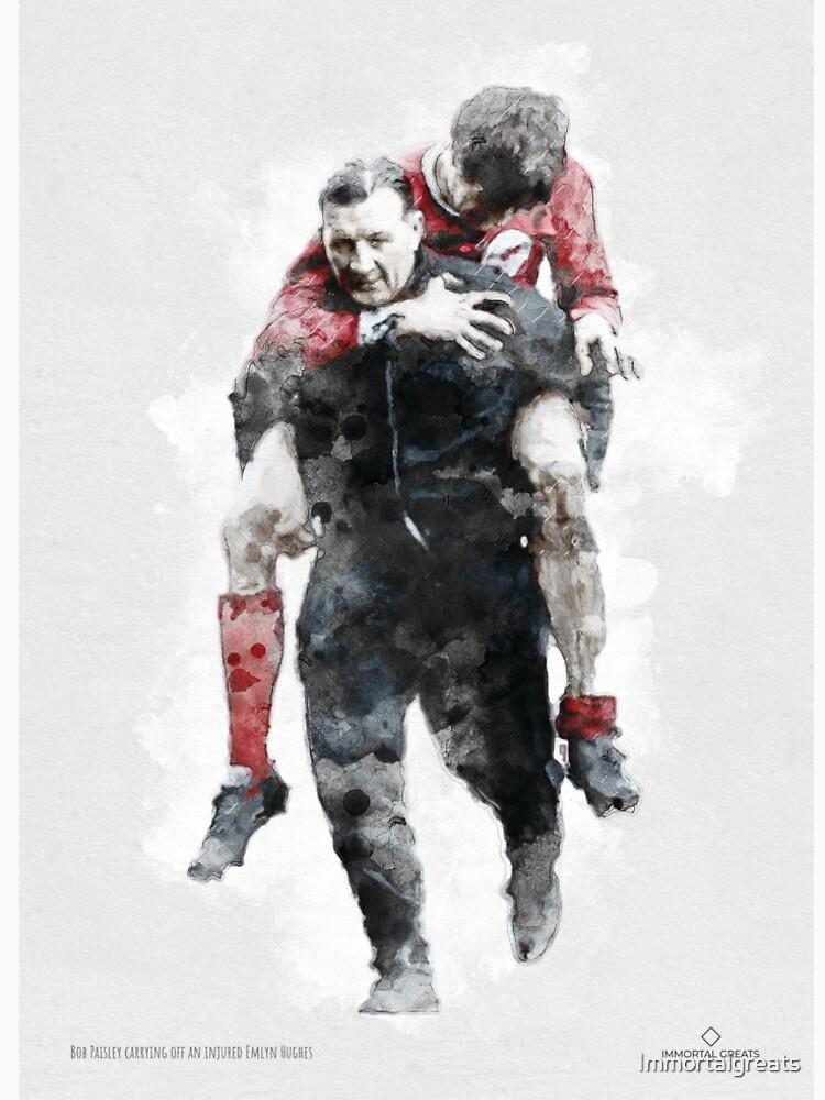 RedBubble: You'll Never Walk Alone. Bob Paisley carrying an injured Emlyn Hughes