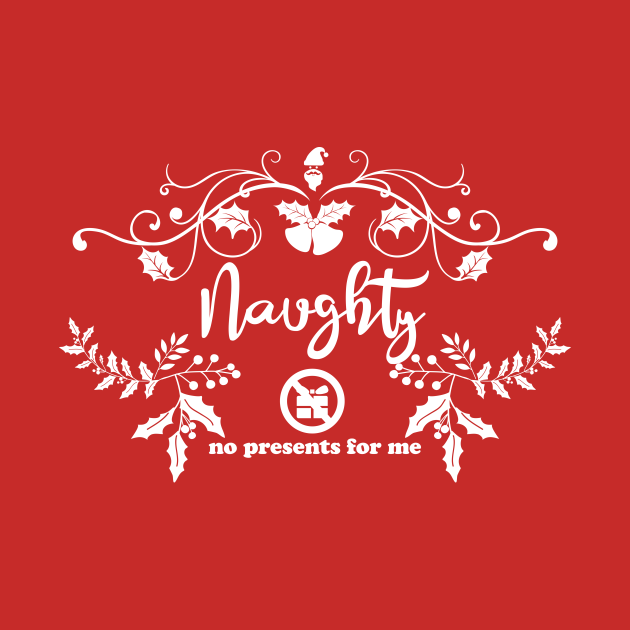 TeePublic: Christmas Naughty Synonyms Naughty White Cursive Text