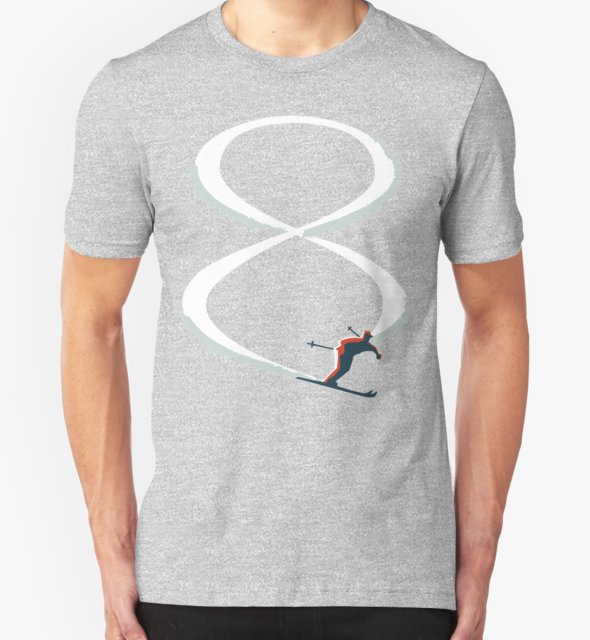 RedBubble: Mid Century Figure 8 Skiers in Retro Style on Teal