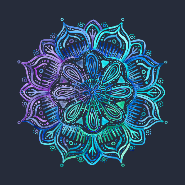TeePublic: Iridescent Aqua and Purple Watercolor Mandala