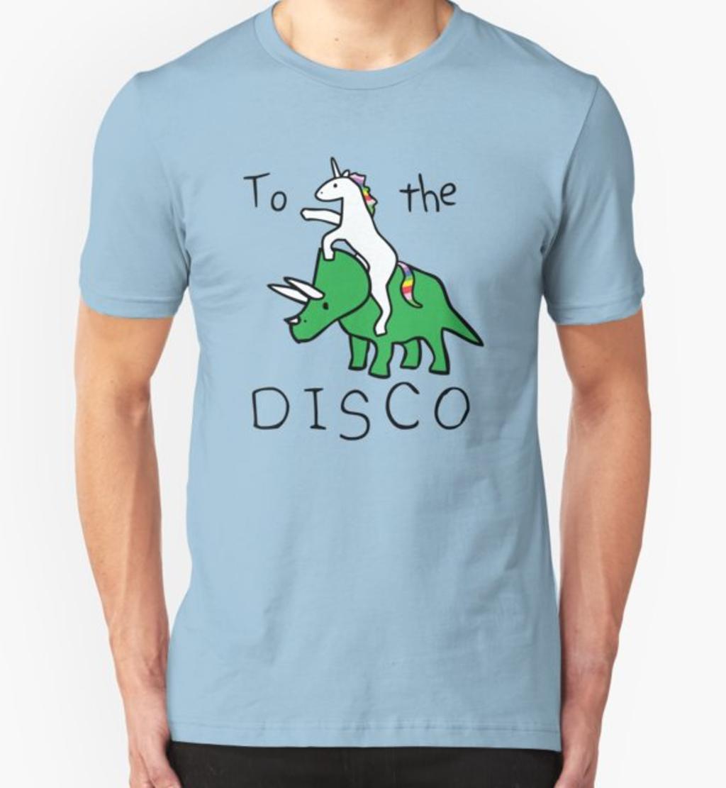 RedBubble: To The Disco (Unicorn Riding Triceratops)