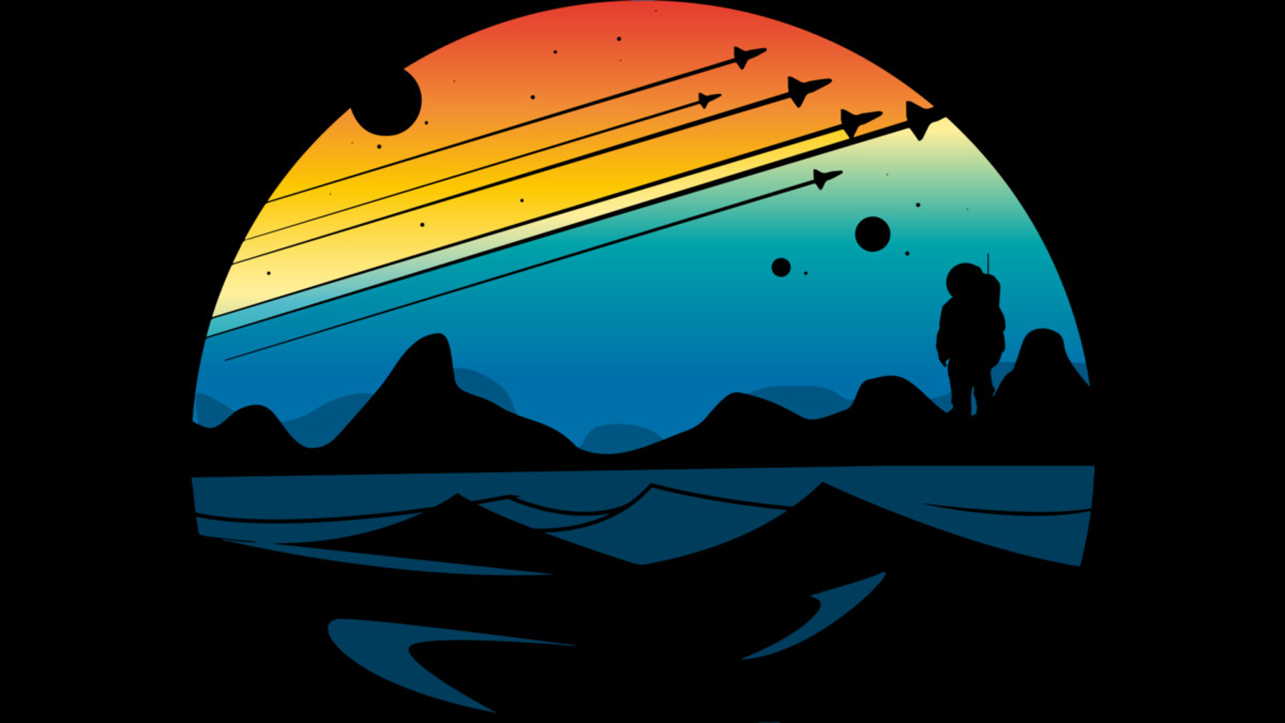 Design by Humans: Scenic colorful space view shuttle pilot science fiction art