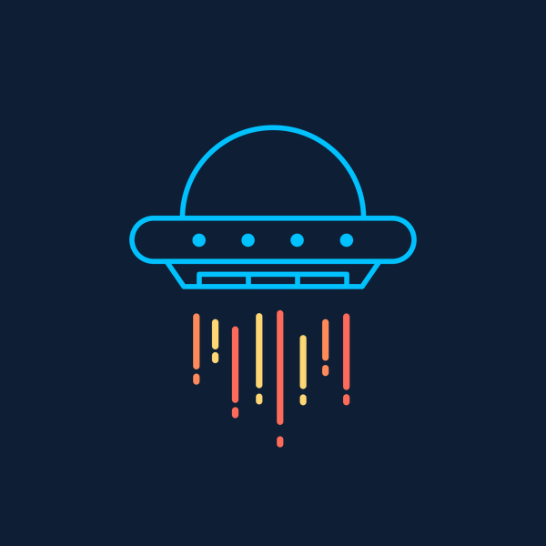 NeatoShop: Flying Saucer aka UFO in Neon Blue
