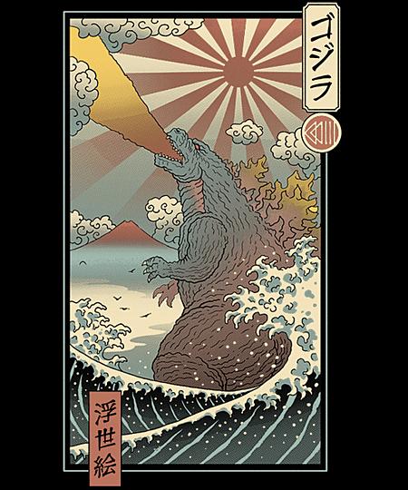 Qwertee: King Kaiju Ukiyo-e